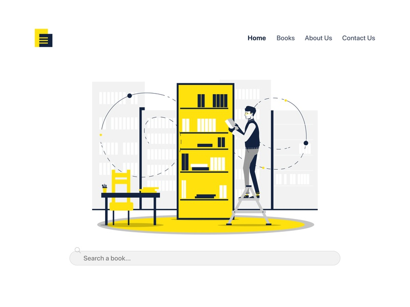 Books Library Illustration and UI outline learning character art vector art figma landing page interface app design app website web library mockup simple design ux ui vector illustration