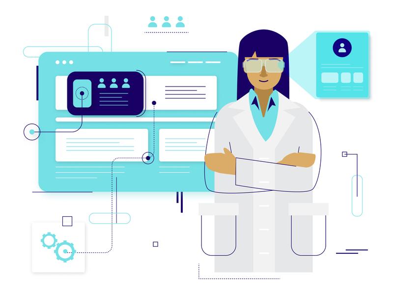 Science Team - Vector Illustrations app web art mockup ux ui engineers lab team awareness covid19 virus illustrations design diversity woman character vector science