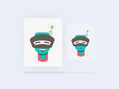 Robot Mascot Happy/Sad States artwork illustration interface web icon app ux ui people man poses character design character simple design mascot design branding vector mascot robot