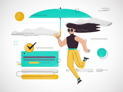 Getting things Done art doodle girl cool texture outline line interface people woman umbrella icons animation branding ux design ui website vector illustration