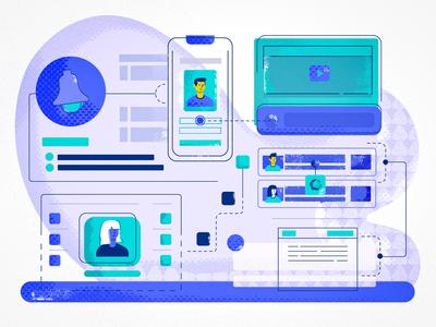 Users Profiles Illustration blue illustrator colors saas doodle texture vector team web people design cool ux users interface ui illustration characters app animation