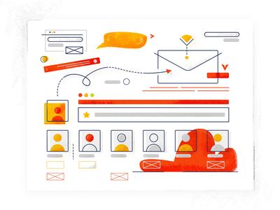 Send Email Illustration elements cool digital product design product illustrator interface texture doodle user app minimal animation branding ux design ui website vector illustration