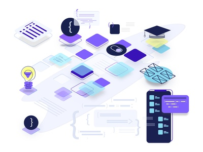 Swift UI Banner Course Design isometric course website figma design perspective 3d interface illustration icons app animation branding design vector ux ui coding code xcode swiftui