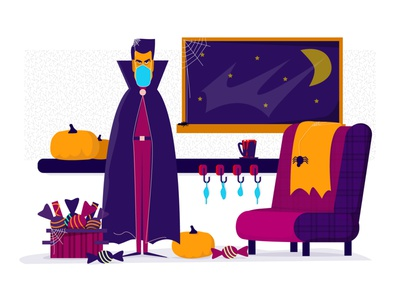 (Another Kind of ) Halloween 2020 night branding animation covid19 candy spider pumpkin vector art vector covid interface ux ui funny cool character design halloween dracula illustration