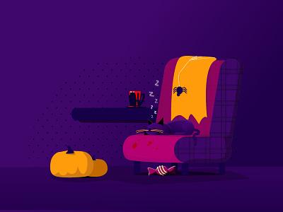 Cozy Halloween Night animal pumpking illustrator graphics colors cool night 2020 halloween cat illustrations app minimal animation branding design website ui vector illustration