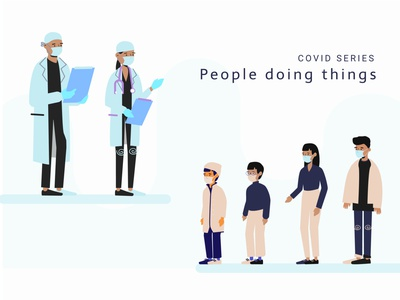 People Doing Things, Covid Series guy cool kids covid19 character team family medical doctor covid minimal app animation branding ux design ui website vector illustration
