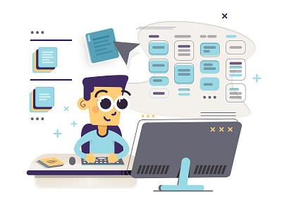Card Sorting UX Design Vector Illustration tech computer desktop flat design app creative interactive interface card sorting guy cool icons animation branding ux design website ui vector illustration