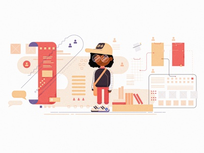 Adobe Blog Post Creative Banner Design outline people illustration design system teen black people character girl minimal cool illustrator icons animation branding ux design website ui vector illustration