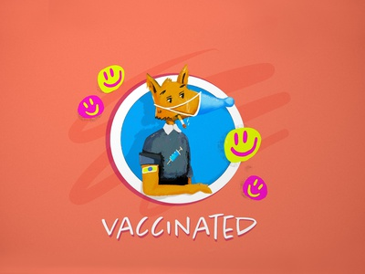 Responsible Vaccinated Fox Sticker Illustration icons cartoon covid vaccine ui app website editorial poster procreate art illustration branding mascot character design animals fox funny stickers