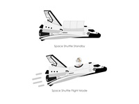 Space Shuttle Standby/Flight Mode, Vector Illustration