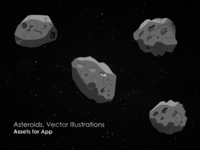 Asteroids, Vector Illustrations