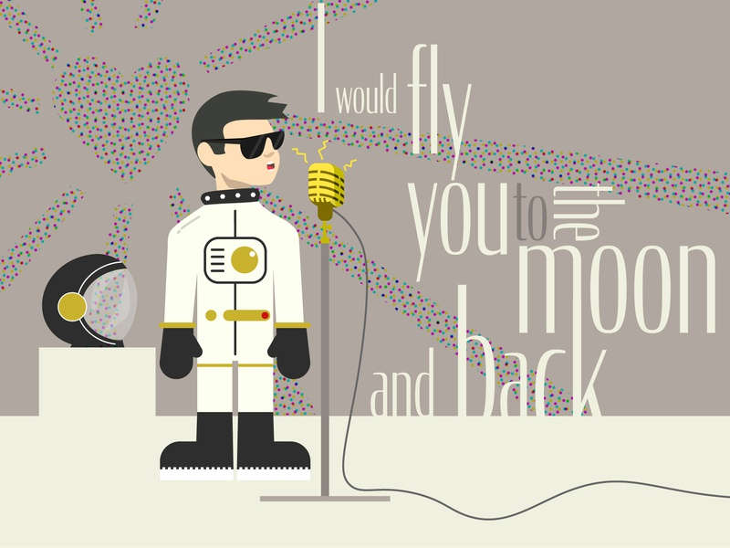Going the Extra Mile music design retro vintage character astronaut people stroke flat web infographic app ui ux icons animation website branding vector illustration