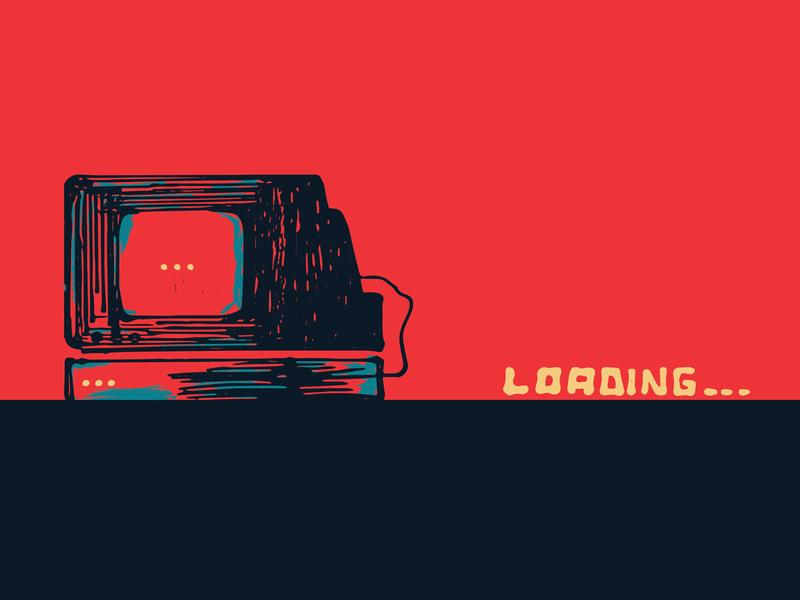 (I like) Vintage Stuff imac red magazine publication laptop desktop loading vector art art design digital print illustrator illustrations vector stroke vintage apple mobile computer