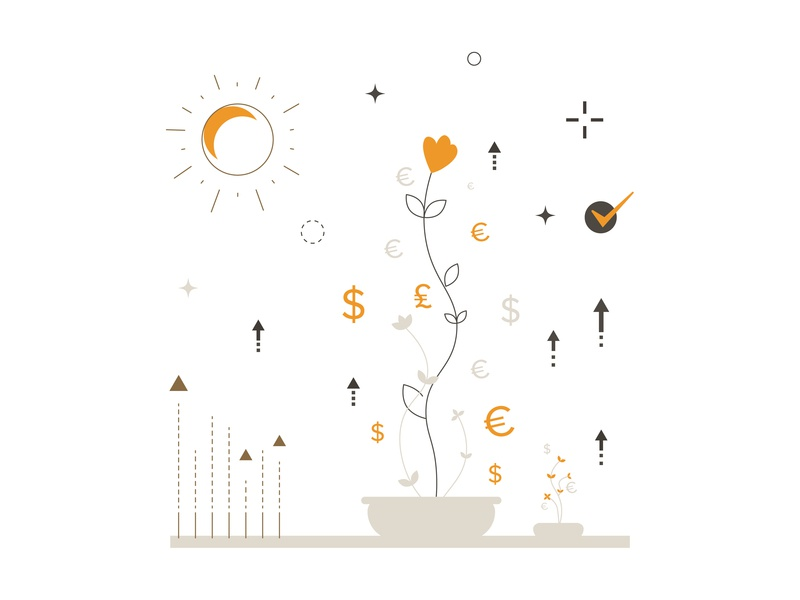 The Credit Guarantee Is Provided On Favorable Terms iconography banking bank credit growth growing simple web icon minimal app ux ui icons design animation branding website vector illustration