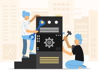 Working Together, Vector Illustration