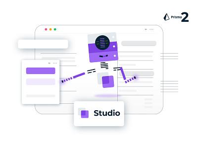 Studio Robot Concept, Prisma2 interface api graphql coders coding software data data migration minimal robot app icons ux ui animation design branding website vector illustration