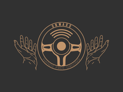 Onward Hands Free Driving simple logo graphic design daily logo challenge clean branding adobe illustrator