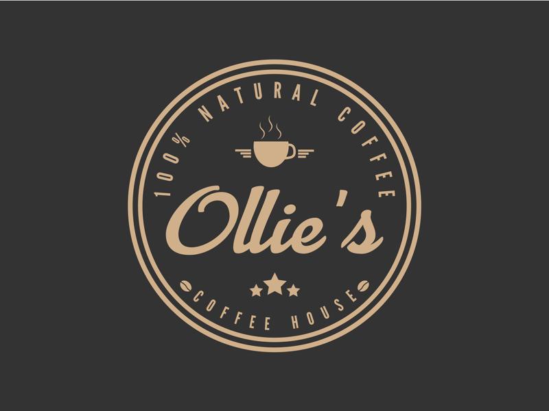 Ollie's Coffee House coffee vectorart vector illustration graphicdesign flat illustrator flat art badge logo daily logo challenge branding adobe illustrator