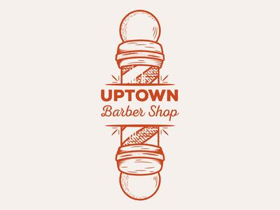 Uptown Barber Shop vector art vector logo illustration graphicdesign flat illustrator flat art daily logo challenge branding badge adobe illustrator