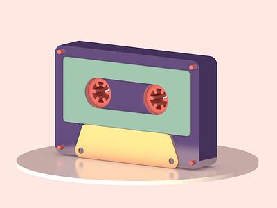 Cassette 3d illustration cinema4d limited color palette digital illustration illustration 3d