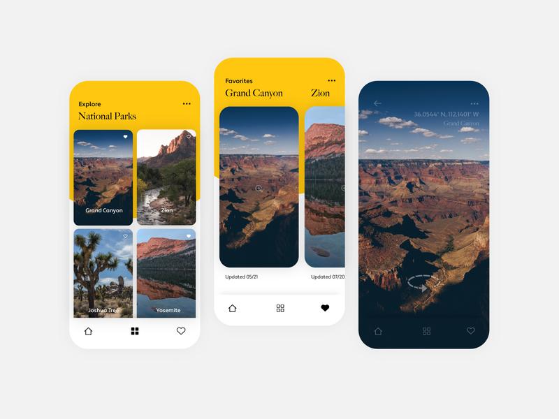 National Park Exploration App typogaphy layout mobile explore national parks app design ui app