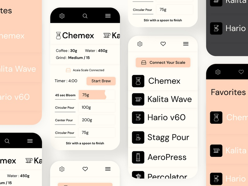 Coffee Brewing Recipe App typography brewing recipe mobile mobile design app design uix ux ui app coffee