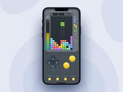 Go Go Go Tetris! mobile flat dark iphone app match3 gameboy game ui game design ux tetris game ui