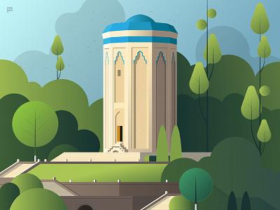 Momine Khatun Mausoleum illustration nature azerbaijan mausoleum momine khatun monument vector illustration flat