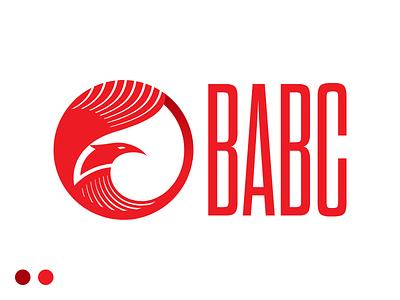 BABC Logo monocolor sharp circle round condensed narrow eagle bird phoenix red azerbaijan branding brand logotype logo