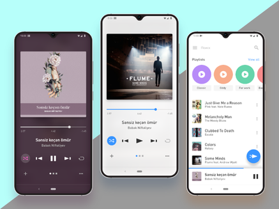Music Player ux mobile white clean clear light app apps application playlist blue purple screen player music interface ui design app