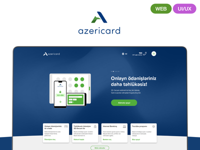 AzeriCard LLC website redesign azerbaijan azericard minimal modern banking blue ux ui web web design
