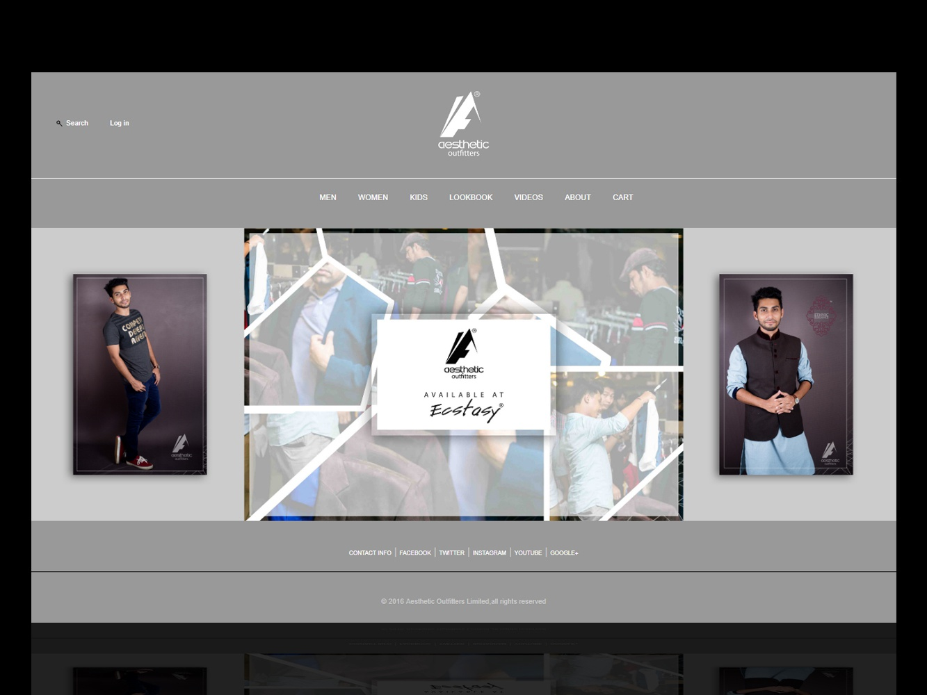 Aesthetic Outfitters home page clothing company clothing brand clothing website concept html css css html fashion ecommerce minimal grayscale gray grey outfitters aesthetic website ux ui design branding