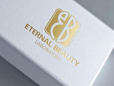 Logo design for Eternal Beauty Laboratory logo mockup graphic designer logo design showcase realistic photorealistic mock-up identity graphicriver logo foilstamping