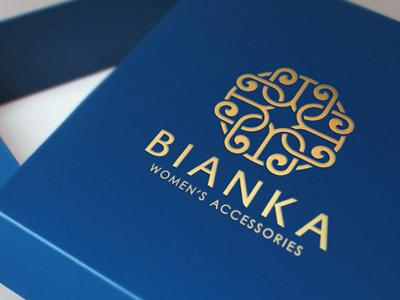 Logo Design for Bianka Accessories logo mockup foil stamping graphic designer logo design branding showcase realistic photorealistic mock-up identity graphicriver logo