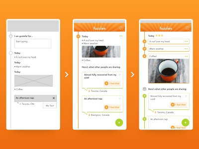 Gratitude Journal Activity Feed Evolution design screen iterations mobile-app-design interface mobile ios ux app ui