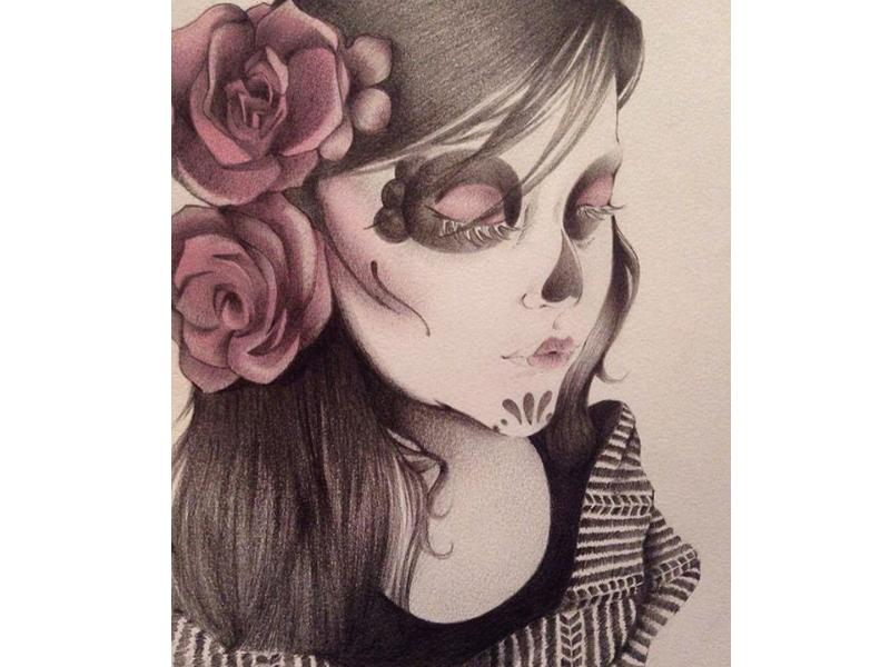 Joss Catrina dead rebozo méxico pencil sketch lápices rosa girl día de muertos catrina