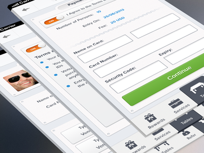 Payment and Account Screens
