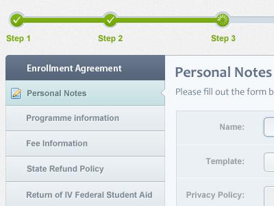 Admin Panel for group of schools current step progress tracker enrollment agreement left navigation form personal notes ui clean