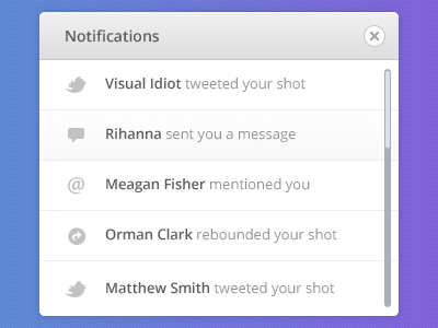 Notifications PSD notifications psd free popup pixel perfect clean neat dribbble