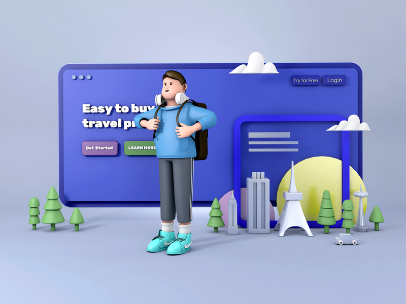 C4D illustration-Boy travel c4d 插画 design
