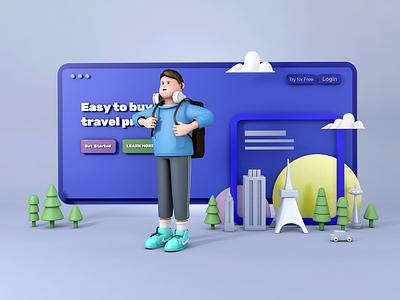 C4D illustration-Boy travel c4d 插画 design
