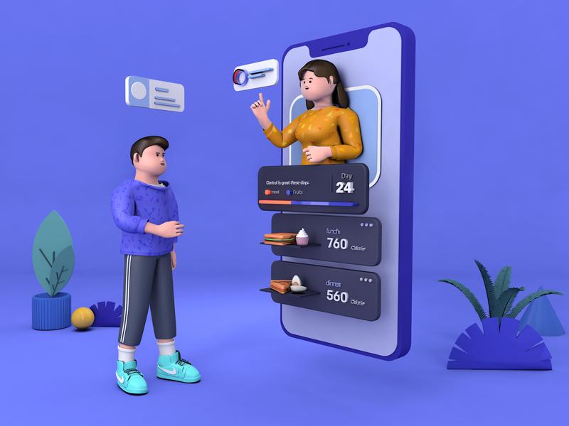C4D illustration— food control app c4d animation design