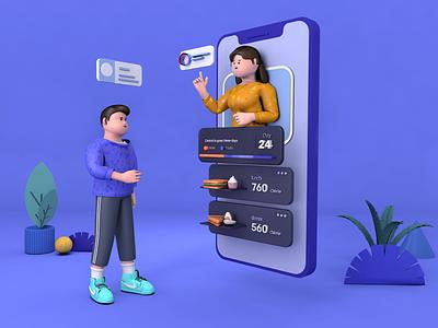 C4D illustration— food control app c4d animation design