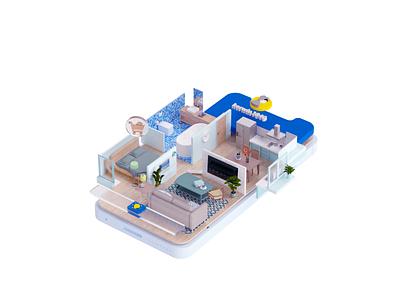 c4d illustration-Furniture shopping 2020 c4d animation design