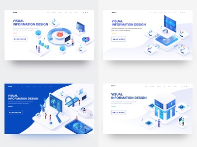 2018 illustration 2.5d web design 2018 ui