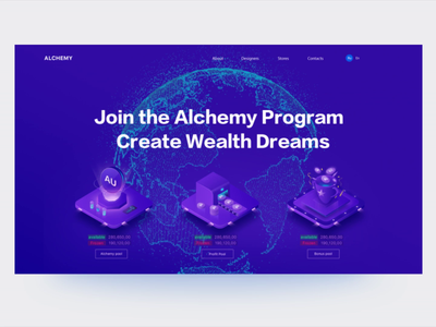 Technological Style Website Design animation 2.5d branding 2019 illustration web design