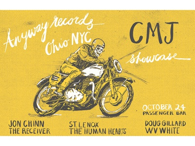 Anyway Records/Ohio NYC CMJ Poster  poster hand lettering lettering texture illustration nicholas nocera