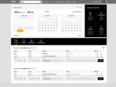 Online Time ui design time management dashboard