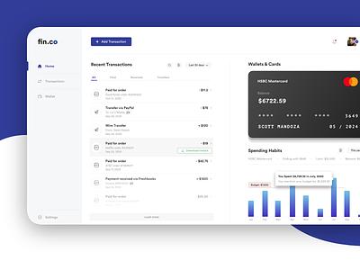 Wallet Dashboard website design finance app dashboard