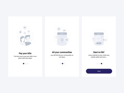 Splash Screens - XPay app payment app mobile app design illustrator minimal flat icon ui ux splash page app